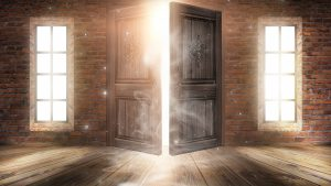 magical door opening with a window on either side